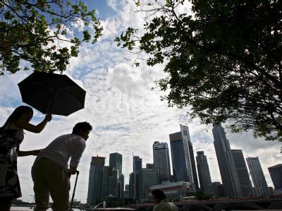 Die Hochhäuser des Finanz- und Bankenviertels in Singapur. Foto: How Hwee Young/Archiv
