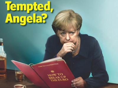 Pünktlich zu ihrer Rückkehr aus dem Sommerurlaub hat die britische Wochenzeitung «The Economist» Bundeskanzlerin Merkel mit einem vermeintlichen Euro-Austrittsszenario auf die Titelseite gehoben. Foto: The Economist/dpa