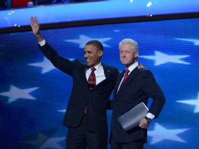 Barack Obama und Bill Clinton auf dem Parteitag der Demokraten in Charlotte. Foto: Michael Reynolds