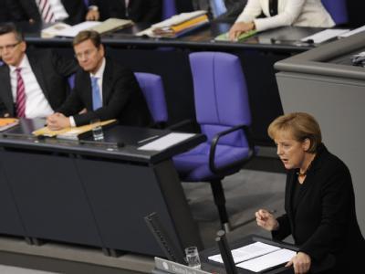 Angela Merkel bei der ersten Regierungserklärung ihrer zweiten Amtszeit.
