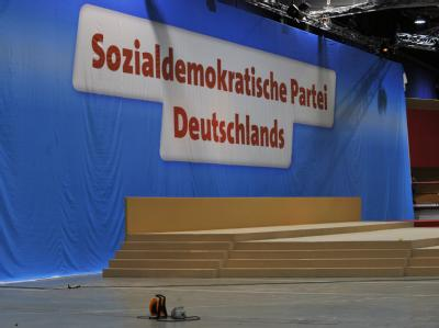Baustelle SPD: Vorbereitungen zum Bundesparteitag auf dem Dresdner Messegelände.