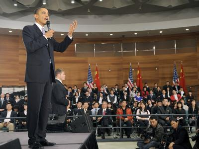 Auftakt in Schanghai: Nach einer Diskussion mit chinesischen Studenten reiste US-Präsident Obama weiter nach Peking.