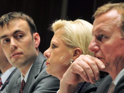 Nils Schmid, Hilde Mattheis und Claus Schmiedel (v.l.) bei einer Regionalkonferenz der baden-württembergischen SPD.