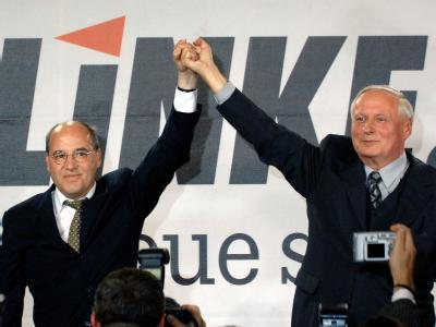 Hoffen auf starkes Ergebnis am 27. September: Die beiden Spitzenkandidaten der Linkspartei, Gregor Gysi und Oskar Lafontaine.