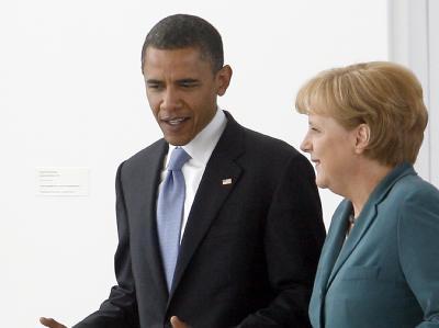 Kanzlerin Angela Merkel mit Barack Obama. Foto: dpa/Archiv