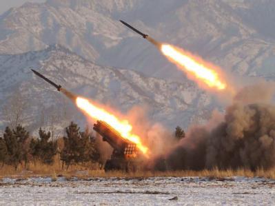 Nordkoreanisches Säbelrasseln: Foto eines Raketentests, das die staatliche Nachrichtenagentur KCNA am 5. Januar 2009 verbreitete.