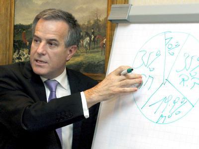 Magna-Manager Siegfried Wolf bei der Erläuterung von Opel-Plänen.
