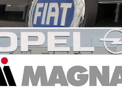 Logos von Fiat, Opel und Magna.
