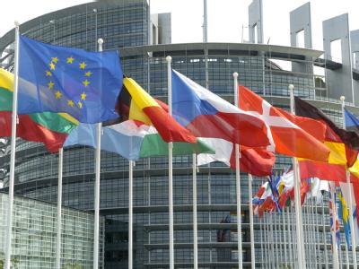 Flaggen der EU-Mitgliedsländer wehen vor dem Europa-Parlament in Straßburg.