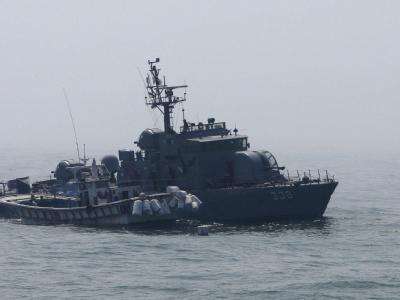 Südkoreanisches Kriegsschiff. An der koreanischen Seegrenze ist es zu einem Zwischenfall gekommen.