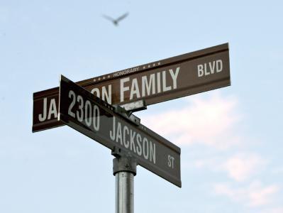 Straßenschilder in Gary, Indiana - Geburtsort des verstorbenen Michael Jackson.