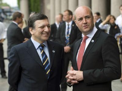 Der EU-Kommissionspräsident José Manuel Barroso und der schwedische Regierungschef und seit Mittwoch amtierende EU-Ratsvorsitzende Fredrik Reinfeldt.