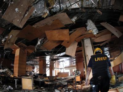 Die Verwüstungen im Marriott Hotel in Jakarta nach dem Bombenanschlag.