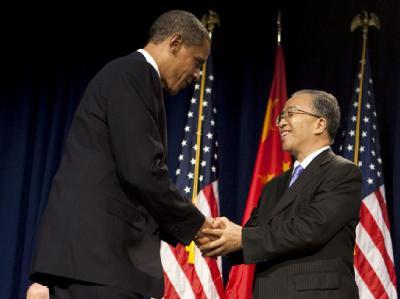 Barack Obama begrüßt die chinesische Delegation in Washington.