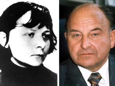 Die ehemalige Terroristin Verena Becker auf einem Fahndungsfoto und Generalbundesanwalt Siegfried Buback im September 1976 in Bonn.