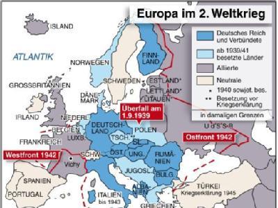 Infokarte zu den europäischen Ländern im Zweiten Weltkrieg.