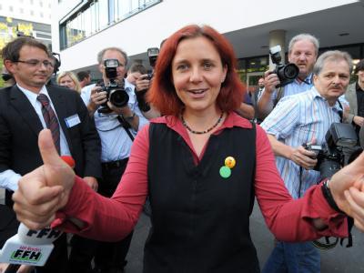 Nach 15 Jahren wieder drin: Die grüne Spitzenkandidatin Astrid Rothe-Beinlich freut sich über den Einzug in den Landtag.