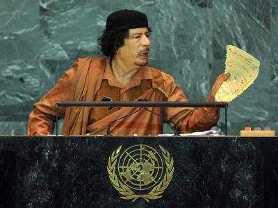 Libyens Revolutionsführer Gaddafi vor der UN-Vollversammlung.