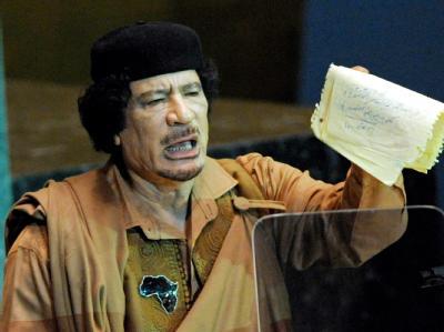 Muammar al-Gaddafi während seiner Rede vor der UN-Vollversammlung.
