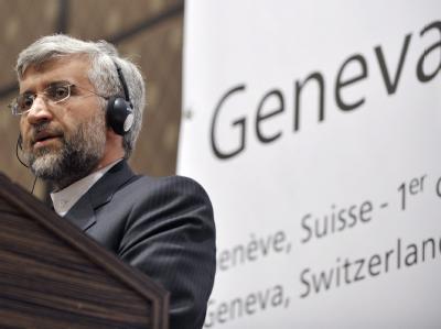 Der iranische Atom-Unterhändler Said Dschalili nach der ersten Runde der Atom-Gespräche in Genf