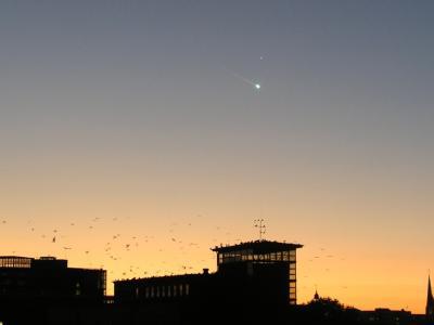 Mysteriöse Lichtkugel am Himmel über Hamburg.