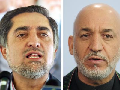 Kontrahenten: Abdullah Abdullah, Kandidat für das Präsidentenamt in Afghanistan (l), und der Präsident Afghanistans, Hamid Karsai.