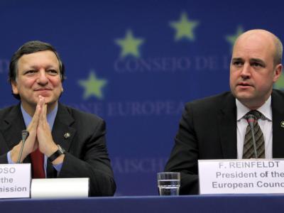 EU-Kommissionspräsident Barroso und Schwedens Regierungschef Reinfeldt beim Gipfel in Brüssel.