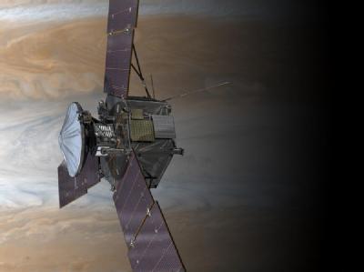 Illustration der NASA-Sonde «Juno» vor dem Planeten Jupiter. (Archivbild)