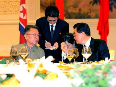 Kim Jong Il (l) und Hu Jintao bei einem Treffen im Mai 2010 (Archivbild).
