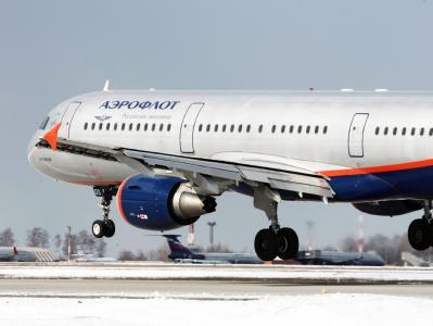 Ein Airbus A-321 der russischen Aeroflot beim landen auf dem Flughafen Moskau: Wegen dem Winterwetter dürfen derzeit keine Maschine mehr landen und starten. (Archivbild)