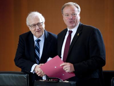 Wirtschaftsminister Rainer Brüderle und Entwicklungshilfeminister Dirk Niebel im Bundeskabinett.