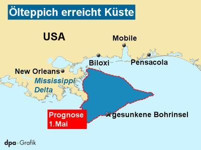 Die Ausbreitung des Ölteppichs vor der US-Küste.