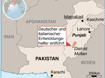 In Pakistan im Distrikt Multan (Provinz Punjab) wurden ein deutscher und ein italienischer Entwicklungshelfer entführt.