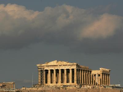 Dunkle Wolken über der Akropolis. Foto: Orestis Panagiotou/Archiv