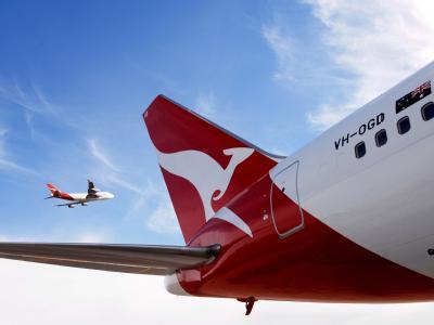 Qantas-Boeing 767 in Sydney, Australien.