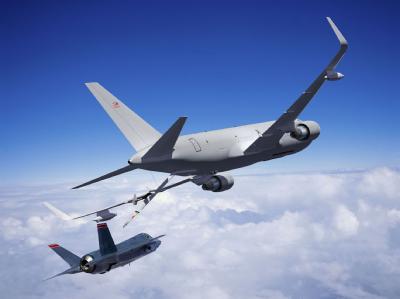 Modell des künftigen US-Tankflugzeugs Boeing KC-46A. Auch dem US-Militär drohen jetzt drastische Kürzungen. Foto: Boeing Image