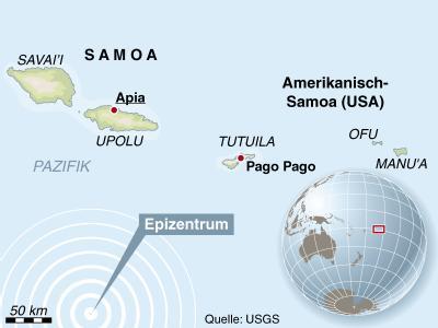 Das Epizentrum des Erdbebens lag südlich von Samoa.