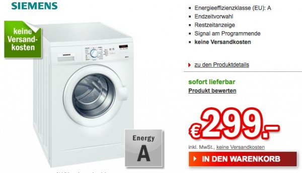 redcoon siemens wm 14 a 223 waschmaschine f r 299 euro. Black Bedroom Furniture Sets. Home Design Ideas