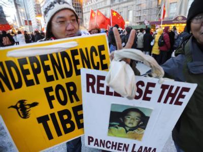 Proteste von Tibet-Aktivisten überschatten den Besuch des künftigen chinesischen Führers Xi Jinping in den USA. Foto: Tannen Maury / Archiv
