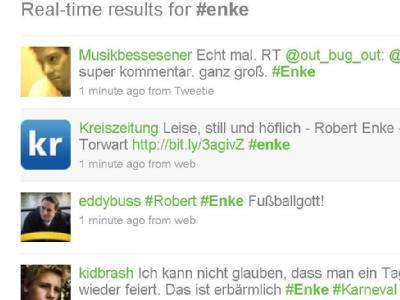 Auch bei Twitter brachten Fans aus allen Teilen der Welt ihre Trauer um Robert Enke zum Ausdruck.