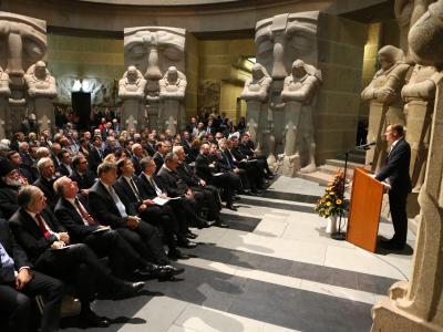 Momentaufnahme vom Festakt im Völkerschlachtdenkmal in Leipzig. Foto: Jan Woitas