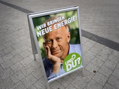 Ein Wahlplakat der Grünen am Tag der Bundestagswahl im September. Foto: Peter Steffen