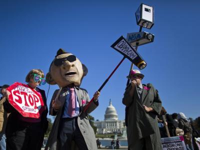 Zu der Protestaktion hatte die Organisation «Stop Watching Us» aufgerufen. Foto:Jim Lo Scalzo