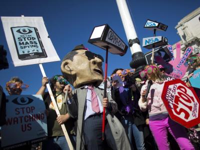 NSA-Kritiker protestieren in Washington. Foto:Jim Lo Scalzo