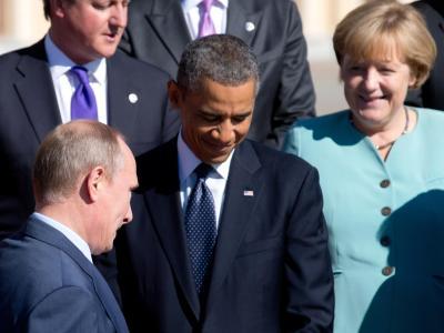 Mächtige unter sich: Barack Obama, Wladimir Putin und Angela Merkel beim G20-Gipfel in St. Petersburg. Foto: Kay Nietfeld/Archiv