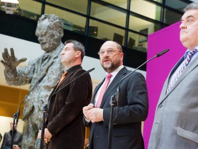 Spitzenvertreter von CDU, CSU und SPD trafen sich zu weiteren Koalitionsverhandlungen nach der Bundestagswahl 2013 in der Parteizentrale der Sozialdemokraten. Foto: Maurizio Gambarini