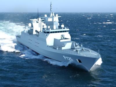 Die Computeranimation zeigt die Fregatte F125. Computeranimation: ARGE 125 c/o Blohm+Voss naval Foto: Arge 125 C/o Blohm+voss Naval