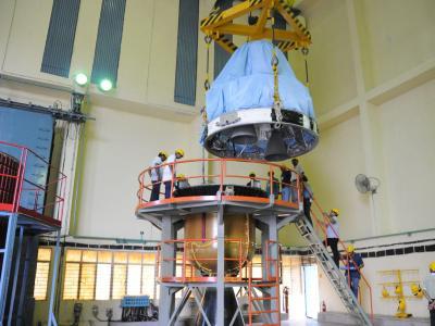Letzte Vorbereitungen im Weltraumbahnhof von Sriharikota. Foto: Indian Space Research Organization