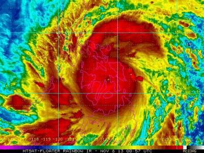 Satellitenaufnahme des über den Philippinen tobenden Taifuns. Foto: EPA/NOAA