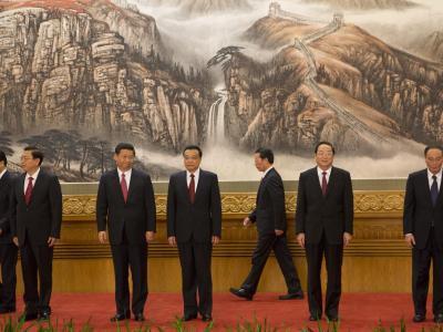 Neue Mitglieder des chinesischen Politbüros stellen sich in Peking vor. Foto: Adrian Bradshaw